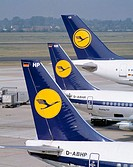 Lufthansa airplane at Düsseldorf airport. Germany