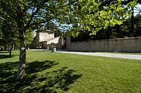 italy, marche, fiastra abbey outdoors