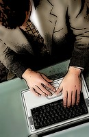 Top view of businessman working on laptop computer