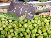 Brussels sprouts. La Boquería market. Barcelona. Spain.