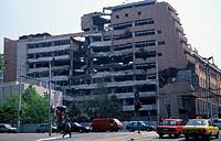 serbia, belgrade, nemanjina street, military building bombed ,