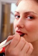 woman, making up, lips