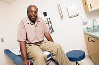 Portrait of male patient in examination room
