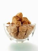 Brown Sugar Cubes in a Glass Bowl