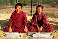 Young Buddhist monks studying the scriptures. Thimpu. Bhutan.
