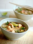 Seafood soup with noodles and limes (Asia)