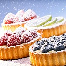 Assorted small fruit flans with icing sugar