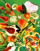 Display of vegetables and prawns