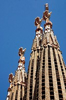 Bell towers of the Sagrada Familia church, by Gaudi. Barcelona. Spain