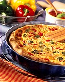 Anchovy and pepper quiche