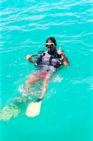 male scuba diver on water surface
