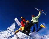 action, Alps, Canton Valais, family, fun, joke, joy, jump, Matterhorn, mountains, ski, snow, snowboard, sports, Swit
