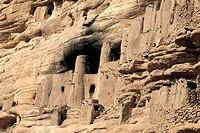 Clay architecture. Bandiagara cliffs. Dogon Country. Mali.