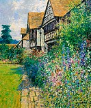 Mixed Borders Courtyard Garden-Afternoon, July 2004 Charles Neal (b.1951/British) Oil on canvas