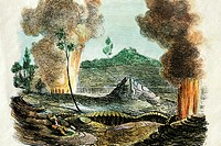 c.1850 Magazine Illustration, Hawaii, Big Island, Volcano of Kilauea