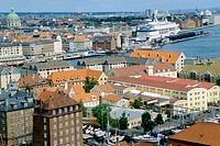 Aerial general view on Copenhagen. Denmark