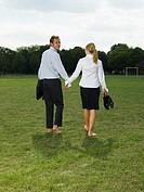 Couple leaving a park