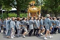 Yearly matsuri (festival) of Kanda shrine featuring a procession of many ´Mikoshi´  (mobile shrines).Tokyo. Japan
