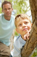Boy and his father in a tree