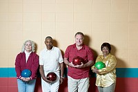 Group portrait at bowling alley