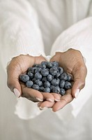 Close up of hands holding blueberries