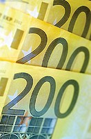 Close-up of two hundred Euro banknotes