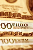 Euro and USA paper currency, close-up, full frame