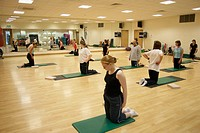 Group of people in a pilates class, kneeling up