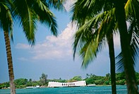 Hawaii, Oahu, Pearl Harbor, Full view of Arizona Memorial, palm trees on either side