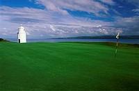 Lighthouse near a golf course, Warren Point Light, Greencastle Golf Club, Ireland