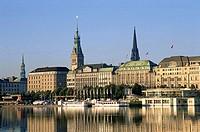 Binnenalster Lake and City Skyline, Hamburg, Hamburg, Germany