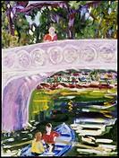 Woman on Bow Bridge, 2004, Richard H. Fox (b.1960/American), Oil on Canvas