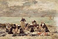 fine arts, Boudin, Eugene, (1824 - 1898), painting, ´the laundresses of Etretat´, 19th century, museum of fine arts, Ghent, Belgium, Europe, impressio...