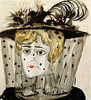 fine arts, Dix, Otto, (1891 - 1969), painting, ´Witwe´, (´widow´) watercolour, 1922, Europe, 20th century, New Objectivity, woman, hat, veil, mourning...
