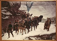 Charles XII., 27.6.1682 - 11.12.1718, king of Sweden 15.4.1697 - 11.12.1718, his body carried home, painting by Gustav Cederstroem, 1855, National Mus...
