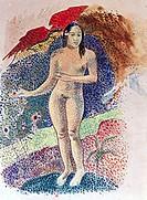 fine arts, Gauguin, Paul, (1848 - 1903), painting, ´Tahitian Eve´, 1891, watercolour on paper, 40 cm x 32 cm, private collection, Paris, historic, his...
