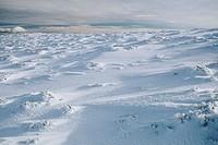 Snow-covered field near Cotos, Guadarrama mountain range, Madrid, Spain