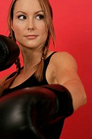 Concentrated female boxer