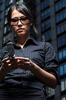 Woman reading a text message