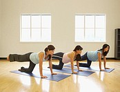 Pregnant women stretching on a yoga mat