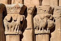 Semi-circular arch detail in the entrance to Romanesque Collegiate church of San Pedro en Cervatos. Campoo de Enmedio region. Cantabria. Spain.