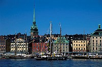 Europe, Sweden, Stockholm, waterfront, building, Gamlastan Quay, harbour, city, city overview, city skyline, skyline, architecture, spire, structure,