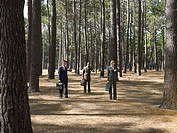 Office workers in forest