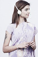 Young woman wearing a headset