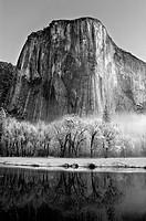 El Capitan, Yosemite National Park, winter in fresh snow.