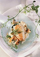 Zander fillet with vegetables, mushrooms and Ebly