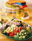 A Cobb Salad on a Platter with Tortilla Chips