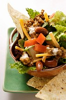 Mexican salad with mince, vegetables and cheese