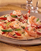 Pizza with seafood, cheese and peppers