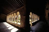 Cloister. Romanesque cathedral of San Vicente. Roda de Isábena. (Romanesque XIIth century). Isábena valley. Pirineo Aragonés. Huesca province. Spain.